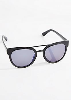 Black Browbar Retro Glossy Sunglasses