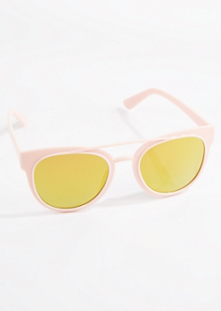 Pink Browbar Retro Sunglasses