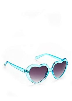 Turquoise Gradient Crystal Heart Sunglasses
