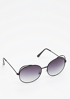 Black Cut-Out Cat Eye Sunglasses