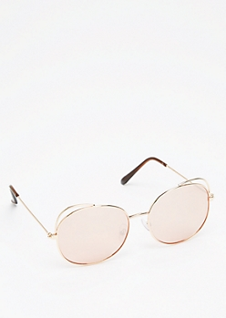 Gold Cut-Out Cat Eye Sunglasses