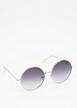 Silver Smoky Round Sunglasses