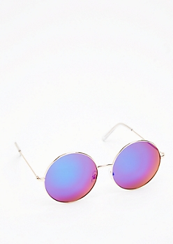 Round Navy Mirror Lens Sunglasses