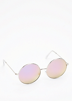 Round Purple Mirror Lens Sunglasses