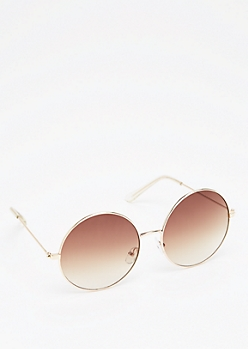 Gold Smoky Round Sunglasses