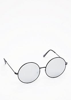 Round Silver Mirror Lens Sunglasses