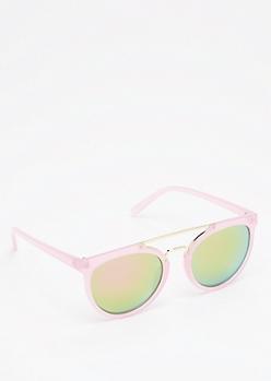 Pink Mirrored Browbar Sunglasses