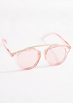 Pink Translucent Browbar Sunglasses