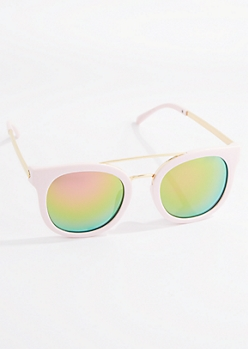 Pink Browbar Mirrored Sunglasses