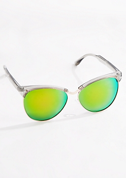 Green Mirror Lens Half-Frame Sunglasses