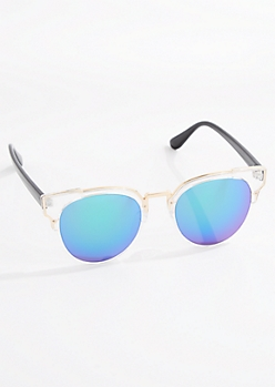 Gold Rimmed Retro Half-Frame Sunglasses