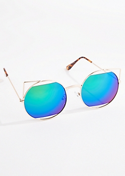 Cat Eyed Mirror Half Lens Sunglasses
