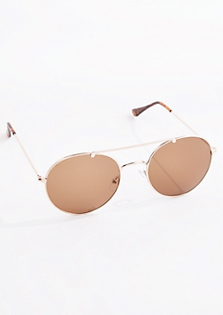 Brown Rounded Aviators