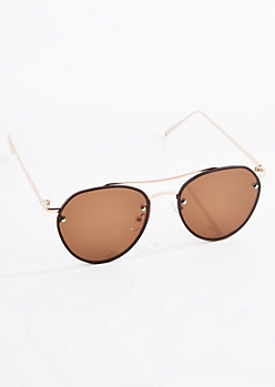 Brown Smoked Frameless Aviators