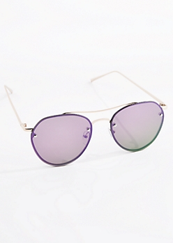 Purple Smoked Frameless Aviators