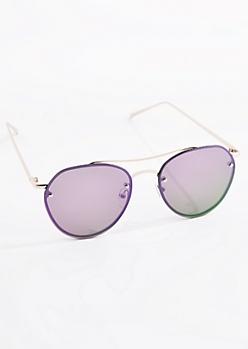 Purple Smoked Frameless Aviators