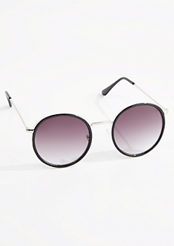 Black Round Retro Sunglasses