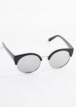 Black Half-Frame Round Lens Sunglasses