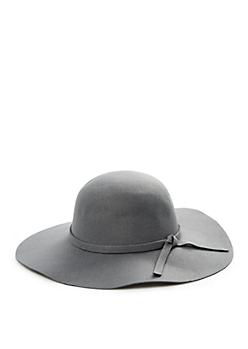 Grey Oversized Floppy Felt Hat