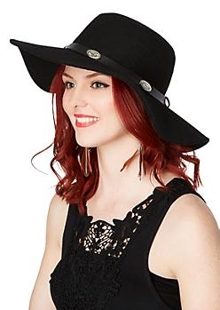 Black Felt Wide Brim Sun Hat