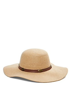 Taupe Felt Wide Brim Sun Hat