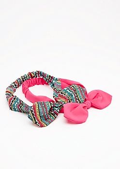2-Pack Fuchsia Aztec Bow Headband