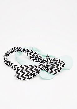 2-Pack Mint Chevron Bow Headband