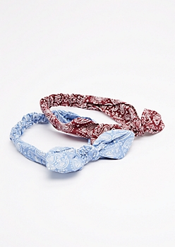 2-Pack Red & Blue Paisley Bow Headband