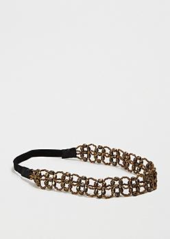 Antique Gold Beaded Headband