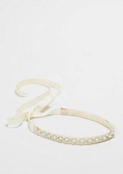 Pearl Embroidered Ribbon Headband