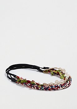 3-Pack Floral Braided Headbands