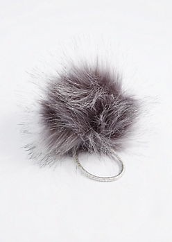 Gray Pom Hairband