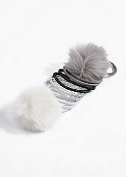 10-Pack Pom Pom Hair Tie