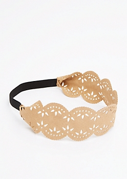 Tan Scalloped Faux Suede Headband