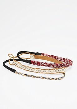 3-Pack Burgundy Braided Paisley Headband