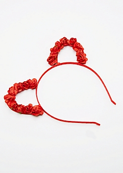 Red Rose Cat Ear Headband