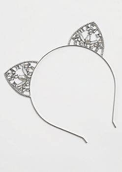Silver Stone Pearly Cat Ear Headband
