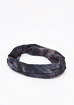 Black Distressed Knotted Head Wrap
