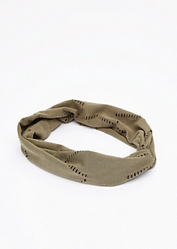 Olive Distressed Knotted Head Wrap