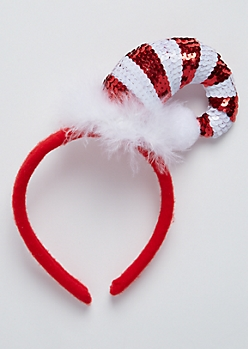 Sequined Candy Cane Headband