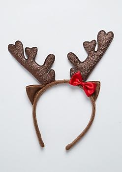 Glitter Reindeer Horn Headband
