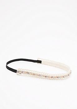 Crochet Shimmer Stone Headband