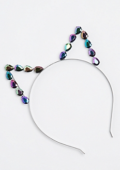 Silver Iridescent Cat Ear Headband