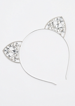 Silver Metallic Stone Cat Ear Headband