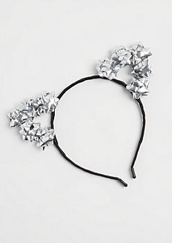 Silver Gift Bow Cat Ear Headband