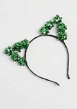Green Gift Bow Cat Ear Headband