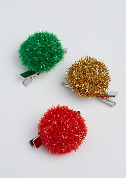 3-Pack Tinsel Puff Hair Clips