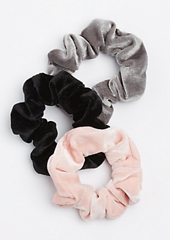 3-Pack Pink Velvet Scrunchie