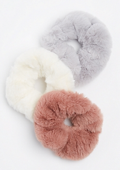 3-Pack Faux Fur Scrunchie Set