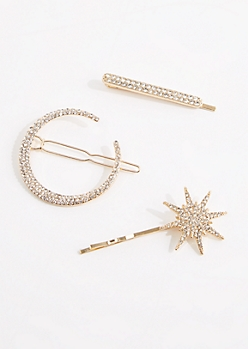 3-Pack Stone Encrusted Bobby Pin